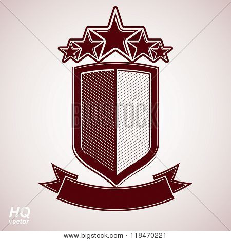 Vector aristocratic symbol. Festive graphic shield with five stars and curvy ribbon, decorative luxury security template. Corporate icon success concept theme design element.