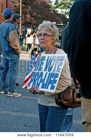 Woman Holding Pro-life Sign At 2008 Political Rally