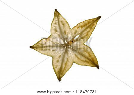 Sliced Ripe Carambola Starfruit Backlit