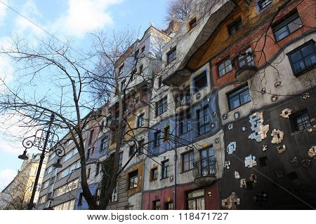 Colourful Facade of the Hundertwasser House, Hundertwasserhaus, Vienna, Austria
