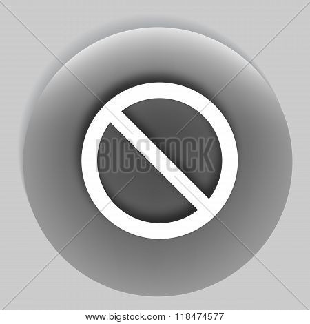 Flat Paper Cut Style Icon Of Forbidden Sign