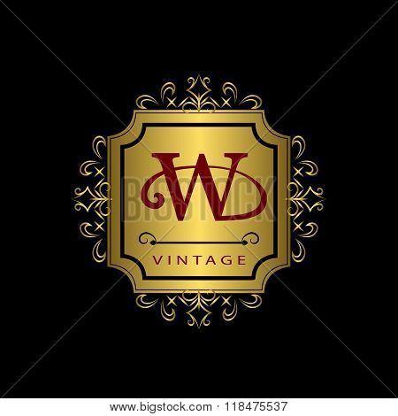Monogram Design Elements, Graceful Template. Calligraphic Elegant Line Art Logo Design. Gold Emblem