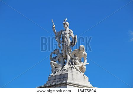 Sculptural Group Near To Monument Of Victor Emmanuel Ii, Roma. Italy
