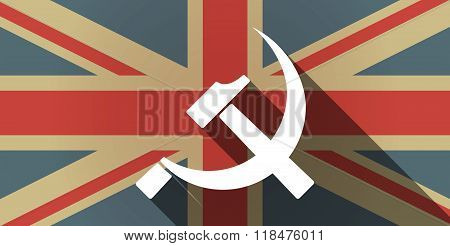 Long Shadow Uk Flag Icon With  The Communist Symbol