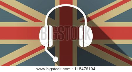 Long Shadow Uk Flag Icon With  A Hands Free Phone Device