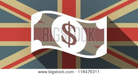 Long Shadow Uk Flag Icon With A Dollar Bank Note