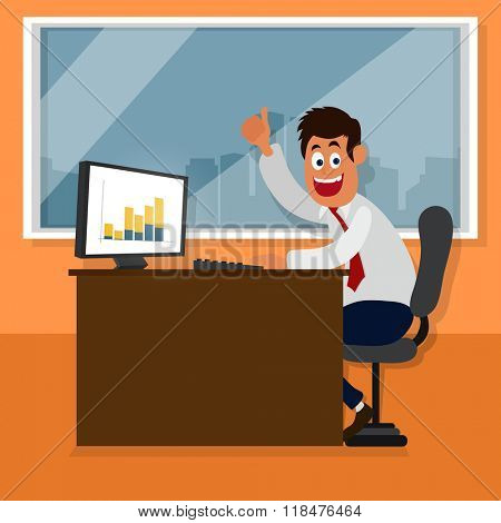 Happy young Businessman excited with his success, showing thumb up at office for Business Progress concept.