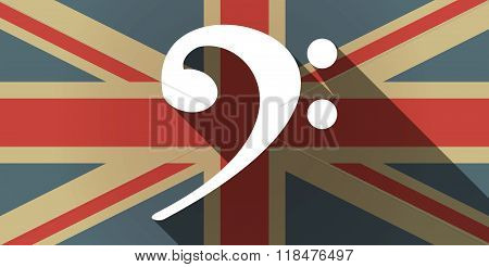 Long Shadow Uk Flag Icon With An F Clef