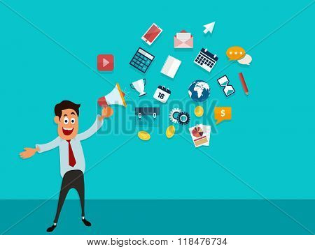 Young Businessman holding loud speaker with colorful infographic elements for Business concept.