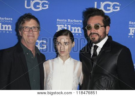 SANTA BARBARA - FEB 12:  Todd Haynes, Rooney Mara, Roger Durling at the 31st SBIFF- Cinema Vanguard Award at the Arlington Theatre on February 12, 2016 in Santa Barbara, CA