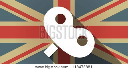 Long Shadow Uk Flag Icon With A Toy Crank