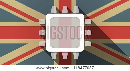 Long Shadow Uk Flag Icon With A Cpu