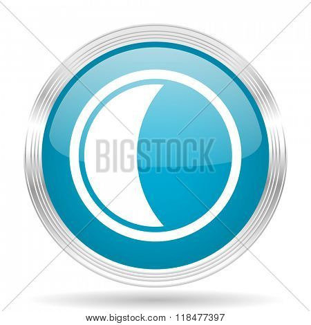 moon blue glossy metallic circle modern web icon on white background