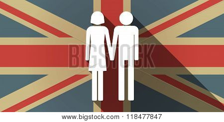 Long Shadow Uk Flag Icon With A Heterosexual Couple Pictogram