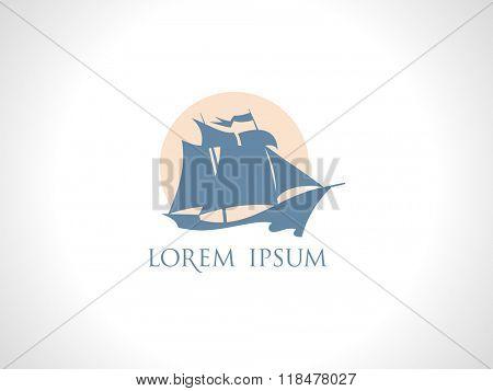 Retro sailing ship against sun logo design