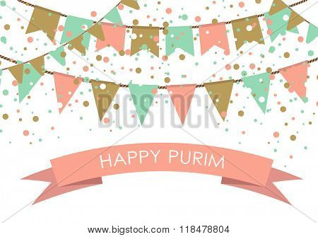 Purim holiday card or banner design. Flag garlands and confetti on white background. Design for  purim carnival.