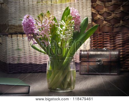 Spring bouquet. Spring flowers hyacinths on the table