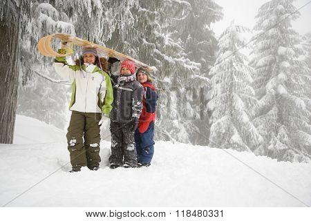 Children with toboggan