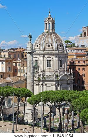 Column Of Trajan And The Chiesa Cattolica Ss. Nome Di Maria.  Rome, Italy