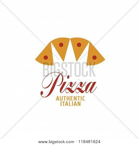Vector logo, design element for pizza, pizzeria, pizza delivery, Italian restaurant. Slices shapping