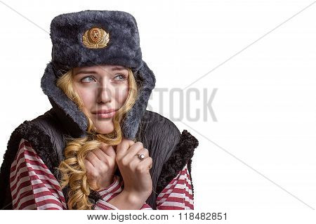 Sad girl in a soldier's cap