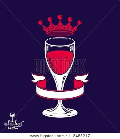 Realistic 3D Luxury Wineglass With King Crown, Alcohol Theme Illustration. Stylized Artistic Lounge