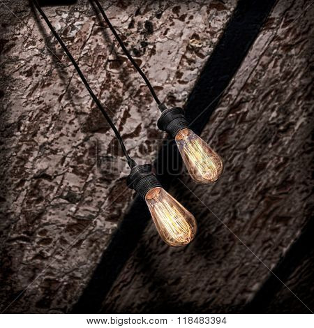 Incandescence Lamp On Brick Grunge Ceiling.