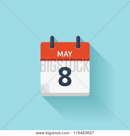 May 8 . Vector flat daily calendar icon. Date and time, day, month. Holiday.