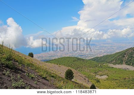 View Of Naples From The Slopes The Volcano Vesuvius. Italy.