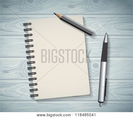Notepad objects wood background flat design pen and pencil write