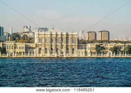 Dolmabahce Palace in Istanbul. View from Bosporus.