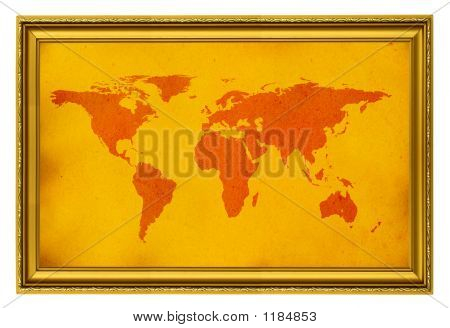 World Map In Golden Frame