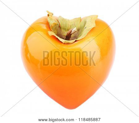 Ripe persimmon in heart shape isolated on white