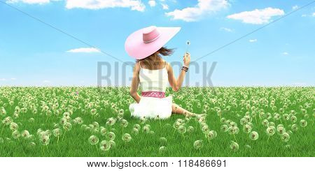 Spring woman with a hat. 3d rendering