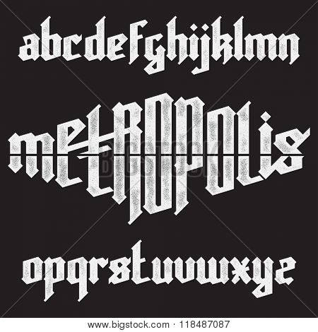 Metropolis modern custom gothic alphabet font. Trendy blue color vector font set