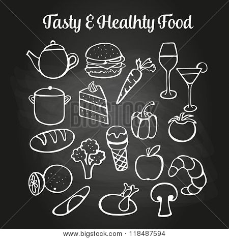 Food doodles on a chalkboard. Can be used to illustrate restaurant menus or advertising leaflets.