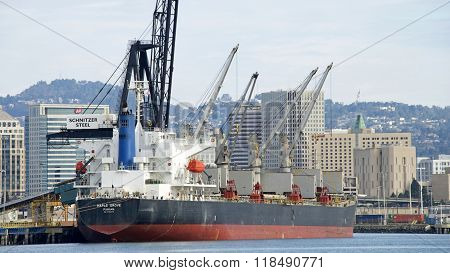 Bulk Carrier Maple Grove Loading At The Port Of Oakland