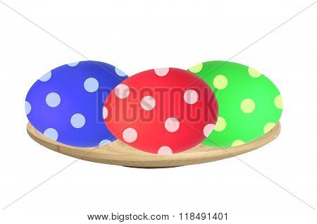 Colorful Easter Eggs in wooden plate isolated on white background