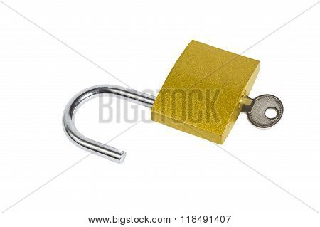 Unlocked Padlock and Key Isolated