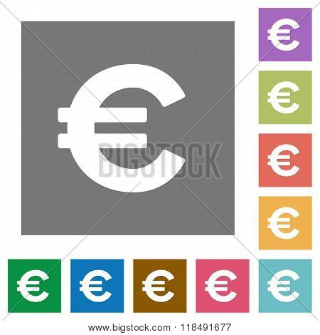 Euro Sign Square Flat Icons