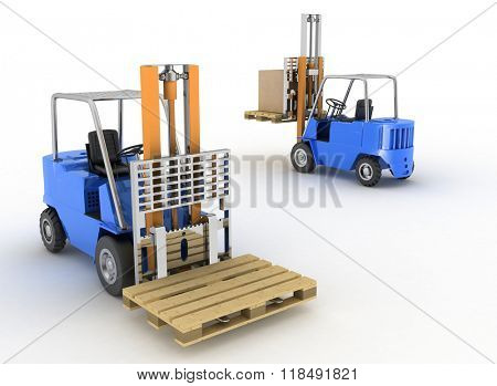 Two loaders with cargo on a white background