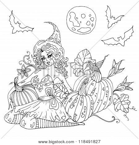 Vector hand drawn Halloween young sexy witch in high hat