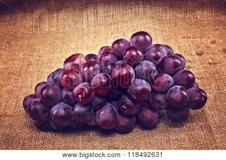 Red Grapes On A Canvas Bag