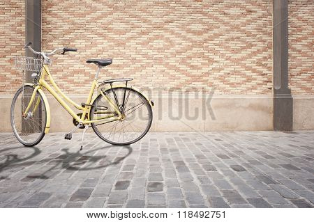 yellow bike in the street