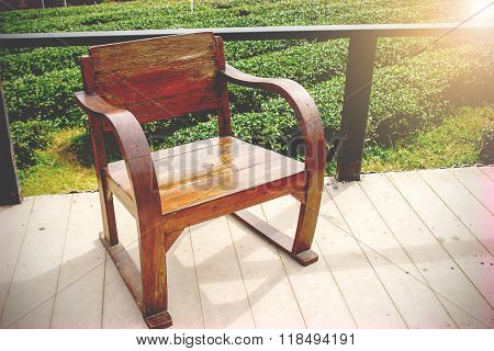 Outdoor With Old Wooden Chair On The Floor