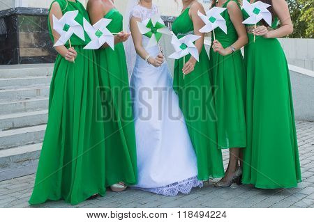 Close Up Of Bride And Bridesmaids