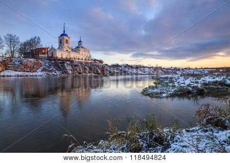 orthodox church on the river, dawn on the river