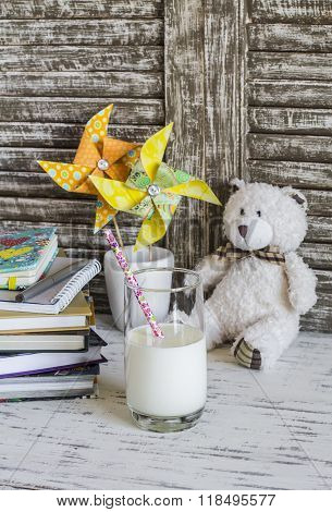 Books, Notebooks, Journals, Handmade Paper Pinwheels And A Glass Of Milk - Homemade Baby Workplace