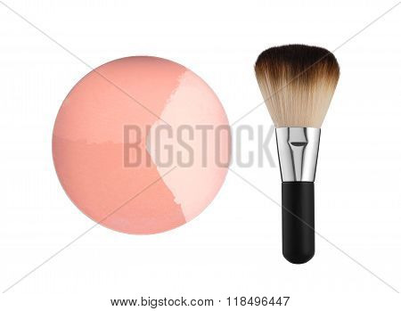 Blush And Brush Isolated On White Background