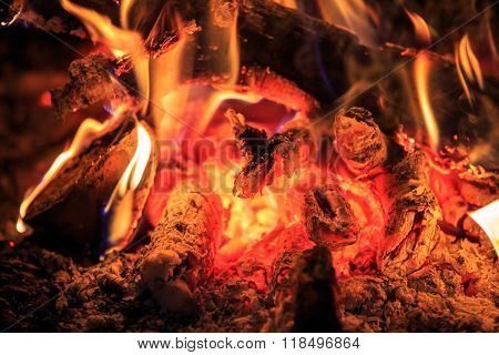 hot red embers - abstract natural background